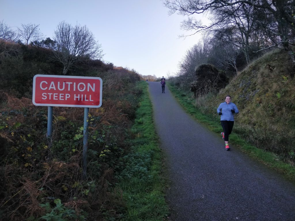 Ganavan Sands Parkrun hill sign