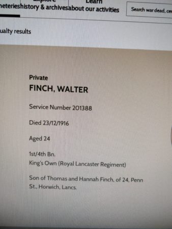 CWGC Walter Finch Entry