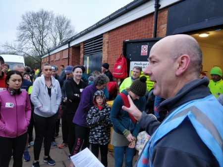 Newcomers briefing at Leamington parkrun
